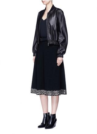 Figure View - Click To Enlarge - Alexander Wang  - Grommet border high waist skirt
