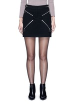 Leather adjuster zip skirt