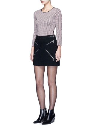 Figure View - Click To Enlarge - Alexander Wang  - Leather adjuster zip skirt