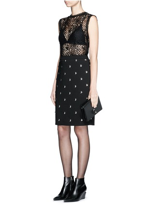 Figure View - Click To Enlarge - Alexander Wang  - Ball stud high waist pencil skirt