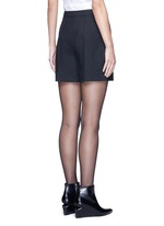Pleated front tailored wool blend shorts