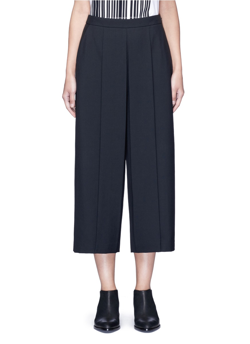alexander wang female 188971 pleated front cropped wool blend pants