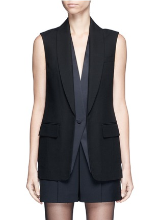 Main View - Click To Enlarge - Alexander Wang  - Double layer satin collar tuxedo vest