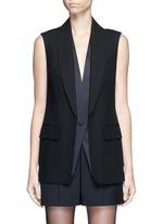 Double layer satin collar tuxedo vest