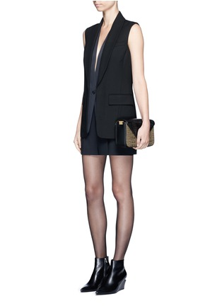 Figure View - Click To Enlarge - Alexander Wang  - Double layer satin collar tuxedo vest
