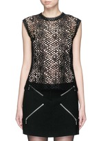 Leather trim sleeveless mesh lace top
