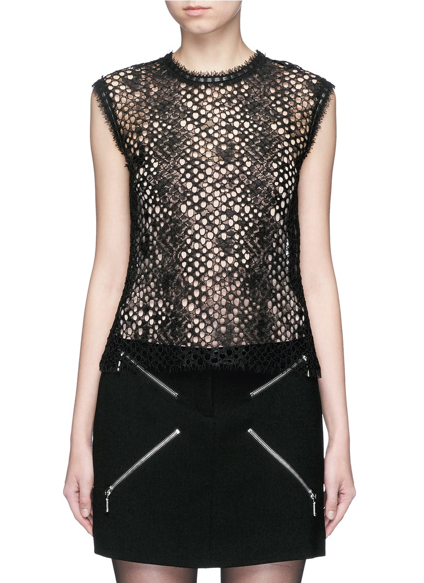alexander wang female 188971 leather trim sleeveless mesh lace top