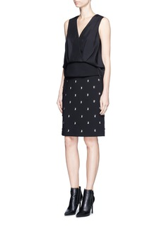 Alexander Wang  Crepe panel drape front silk top