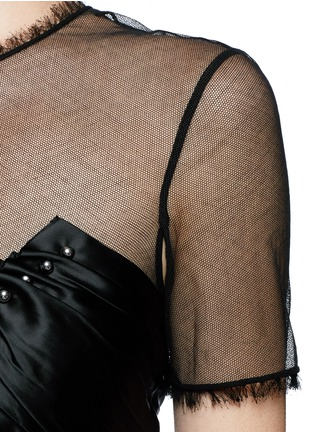 Detail View - Click To Enlarge - Alexander Wang  - Ball stud ruched satin mesh top