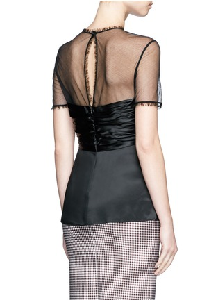 Back View - Click To Enlarge - Alexander Wang  - Ball stud ruched satin mesh top