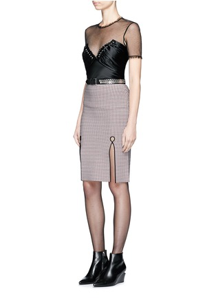 Figure View - Click To Enlarge - Alexander Wang  - Ball stud ruched satin mesh top