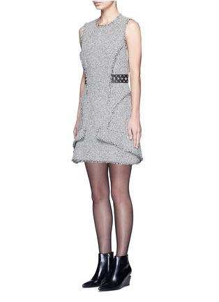 Front View - Click To Enlarge - Alexander Wang  - Grommet belt tweed peplum dress