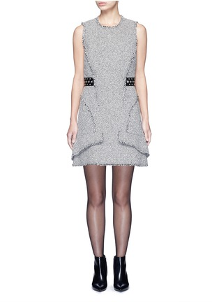 Main View - Click To Enlarge - Alexander Wang  - Grommet belt tweed peplum dress