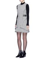 Grommet belt tweed peplum dress