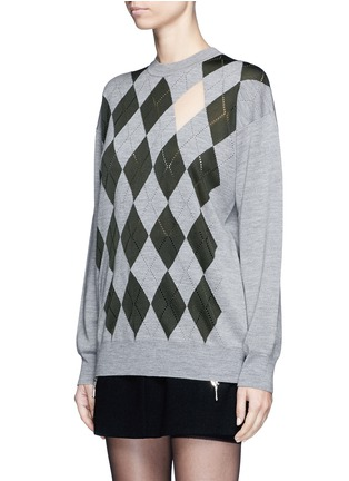 Front View - Click To Enlarge - Alexander Wang  - 'Argyle' cutout argyle intarsia sweater