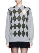 'Argyle' cutout argyle intarsia sweater