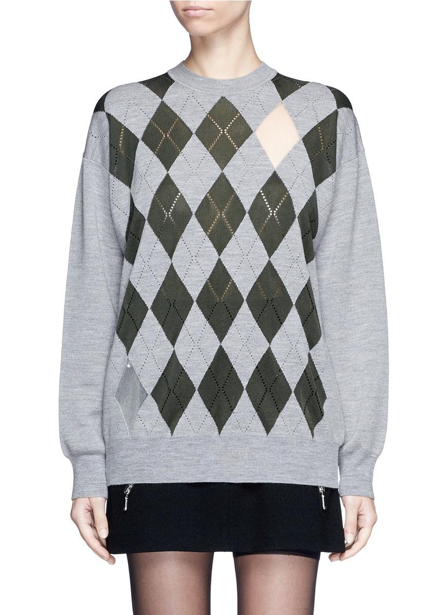 alexander wang female  argyle cutout argyle intarsia sweater