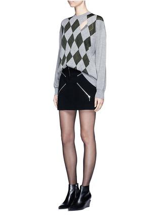 Figure View - Click To Enlarge - Alexander Wang  - 'Argyle' cutout argyle intarsia sweater