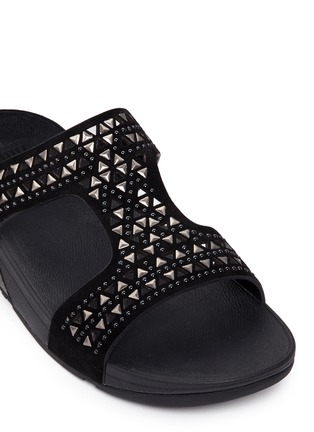 Detail View - Click To Enlarge - Fitflop - 'Carmel' stud lasercut suede slide sandals
