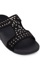 'Carmel' stud lasercut suede slide sandals