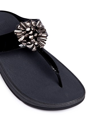 Detail View - Click To Enlarge - Fitflop - 'Blossom II' beaded floral cluster patent flip flops