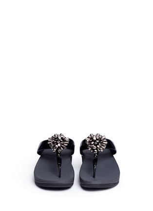 Front View - Click To Enlarge - Fitflop - 'Blossom II' beaded floral cluster patent flip flops