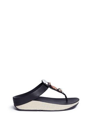 Fitflop-'Jeweley' raffia sole strass leather flip flops