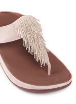 'Cha Cha' beaded fringe shimmer suede flip flops