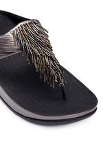 'Cha Cha' beaded fringe lizard embossed leather flip flops