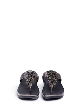 Front View - Click To Enlarge - Fitflop - 'Cha Cha' beaded fringe lizard embossed leather flip flops