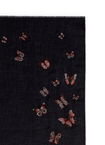 'Butterfly Futter' embroidery cashmere scarf