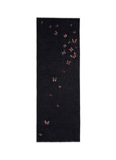 Janavi'Butterfly Futter' embroidery cashmere scarf