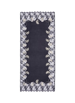 Main View - Click To Enlarge - Janavi - Petal flower embroidery lace cashmere scarf