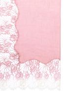 Ombré Chantilly lace insert cashmere scarf