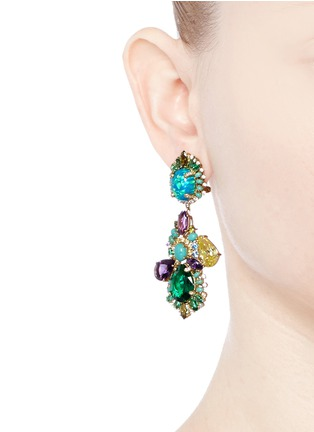 Figure View - Click To Enlarge - Anabela Chan - 'Opals Poseidon' diamond pavé gemstone drop earrings