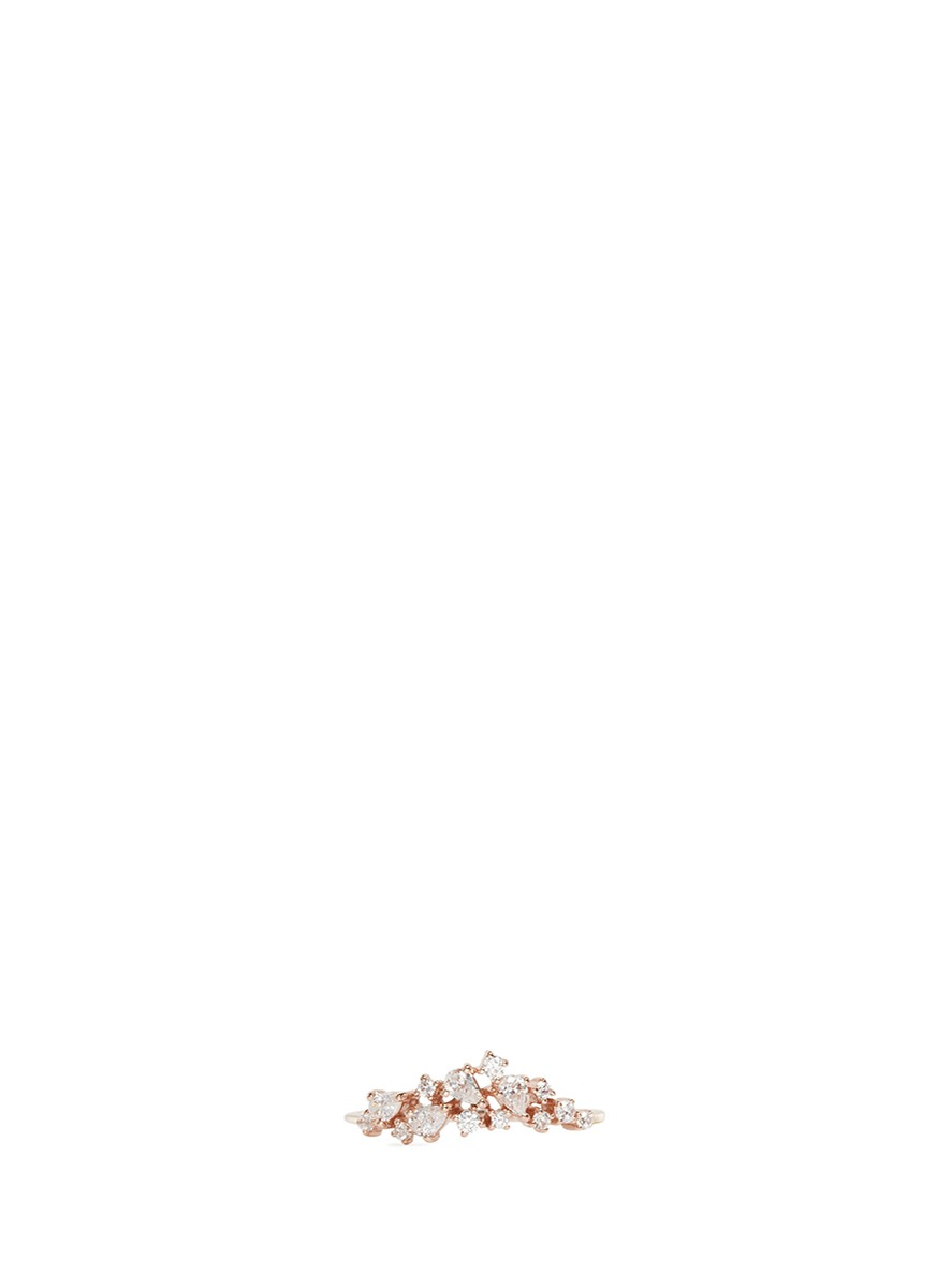 Stardust diamond 9k rose gold midi ring by Anabela Chan