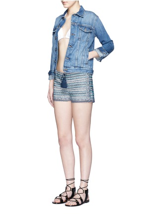 Figure View - Click To Enlarge - Talitha - 'Faro' tribal embroidered drawstring shorts