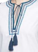 Tribal scroll embroidered stripe peasant blouse
