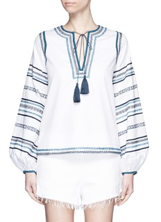 TalithaTribal scroll embroidered stripe peasant blouse
