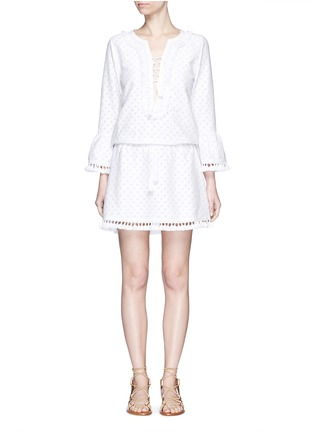 Main View - Click To Enlarge - Talitha - 'Shyla' floral cutwork drawstring tunic dress
