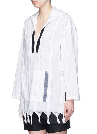 Front View - Click To Enlarge - Koza - 'Baja' fringe pinstripe tunic hoodie
