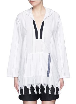 Main View - Click To Enlarge - Koza - 'Baja' fringe pinstripe tunic hoodie