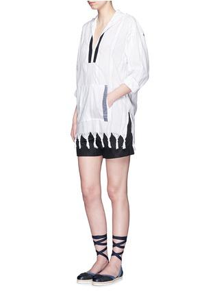 Figure View - Click To Enlarge - Koza - 'Baja' fringe pinstripe tunic hoodie
