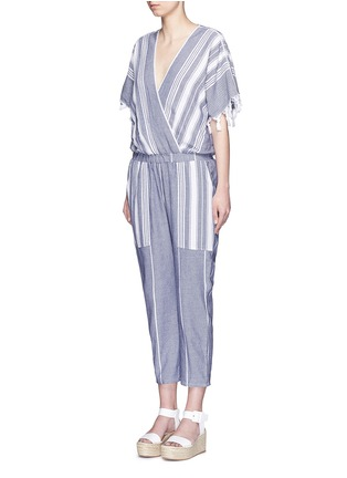 Front View - Click To Enlarge - Koza - 'Merry' variegated herringbone stripe jumpsuit