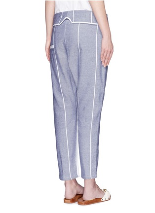 Back View - Click To Enlarge - Koza - 'Brooke' fold-down waist pinstripe cropped pants