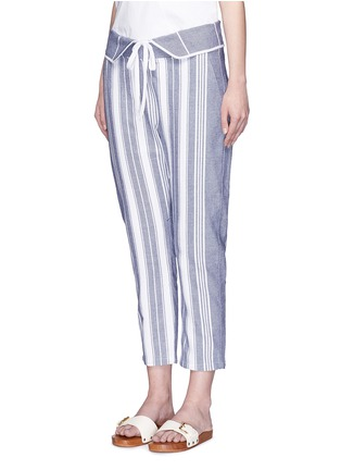 Front View - Click To Enlarge - Koza - 'Brooke' fold-down waist pinstripe cropped pants