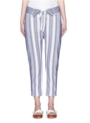 Main View - Click To Enlarge - Koza - 'Brooke' fold-down waist pinstripe cropped pants