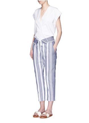 Figure View - Click To Enlarge - Koza - 'Brooke' fold-down waist pinstripe cropped pants