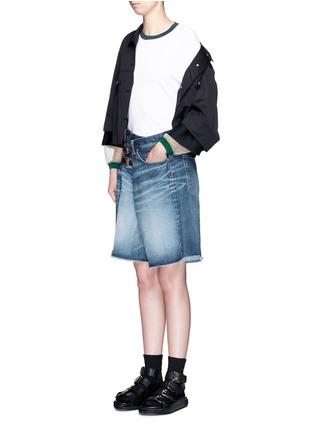 Figure View - Click To Enlarge - FACETASM - Foldover strap front oversized denim shorts