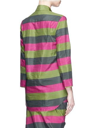 背面 - 点击放大 - ISA ARFEN - 拼色条纹丝混棉衬衫